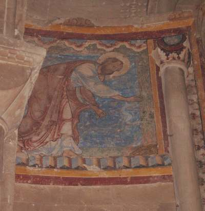 Saint Paul mordu par la vipère, crypte de la cathédrale de Canterbury, photo de notre pèlerinage aux saints Orthodoxes du Kent (29 juillet 2005) dans IMMAGINI (DI SAN PAOLO, DEI VIAGGI, ALTRE SUL TEMA) canter10