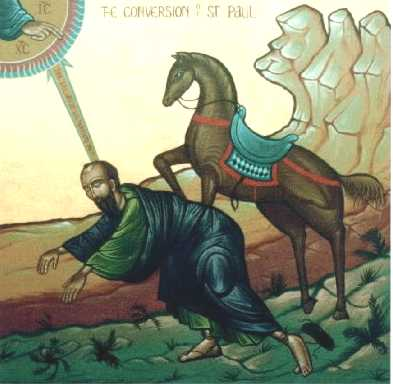 icone de saint Paul chutant de cheval sur la route de Damas
