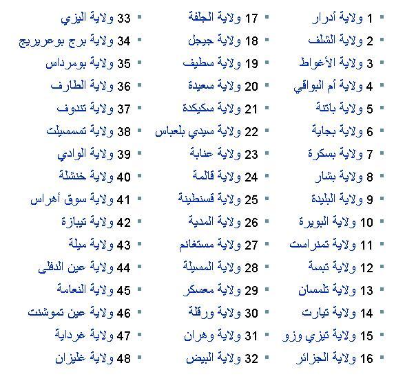 ولايات الجزائر