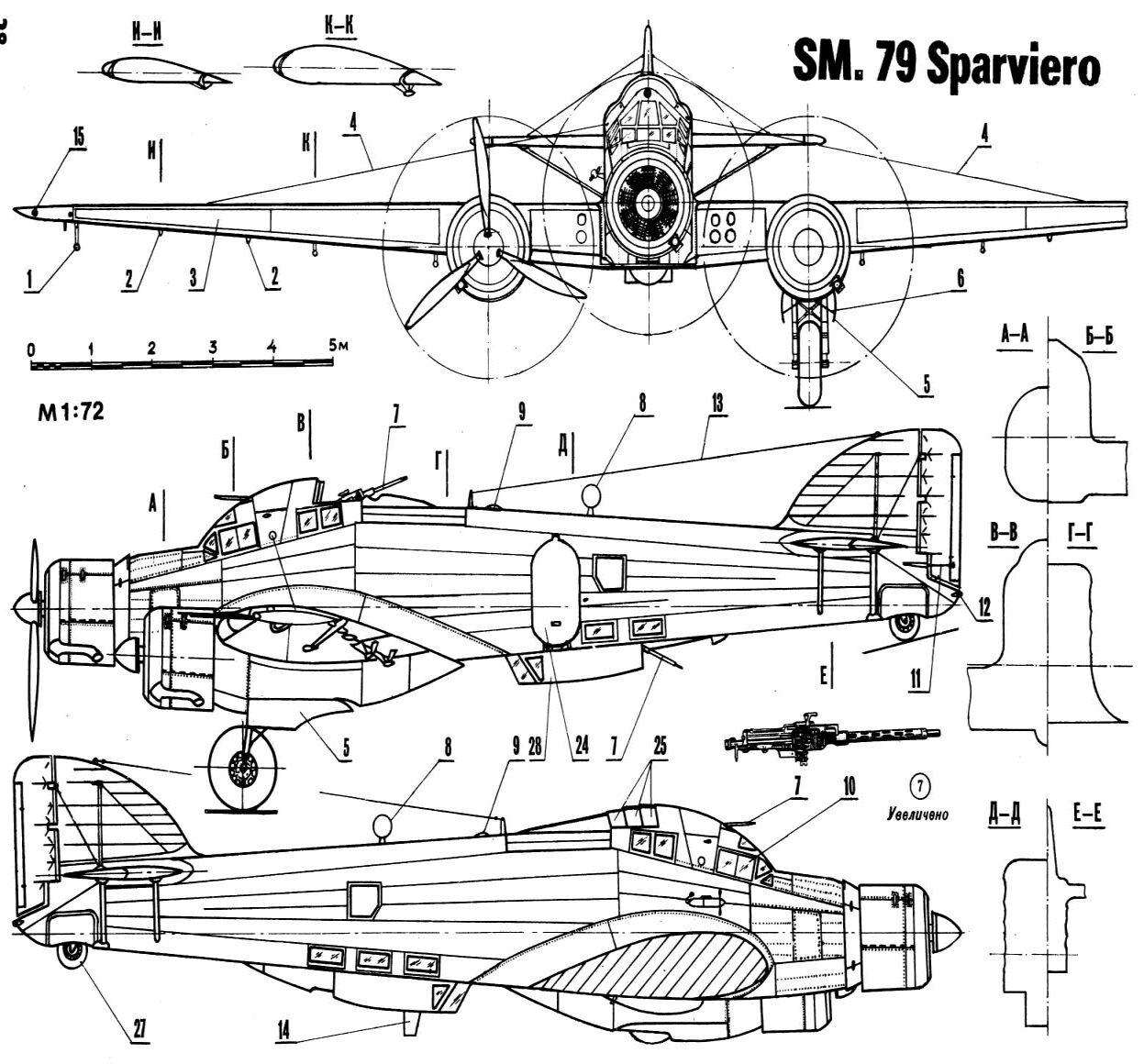Esquema del Savoia Marchetti SM 79