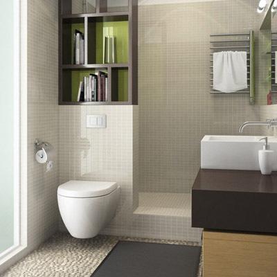 And now la sdb - Salle de bain kaki ...