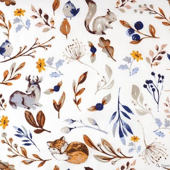 tissu coton motif animaux foret