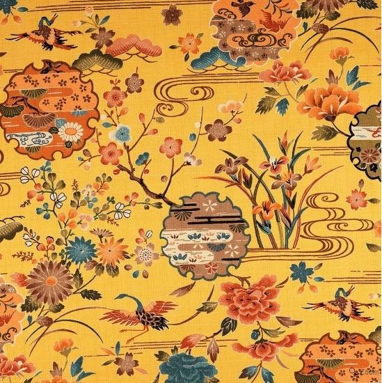 tissu jaune motif japonais grue