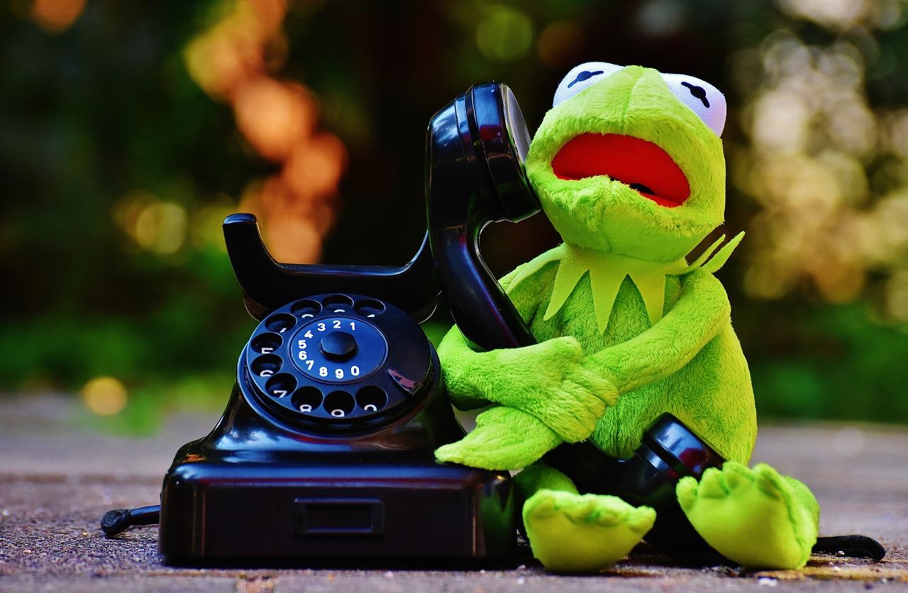 peluche kermit qui téléphone