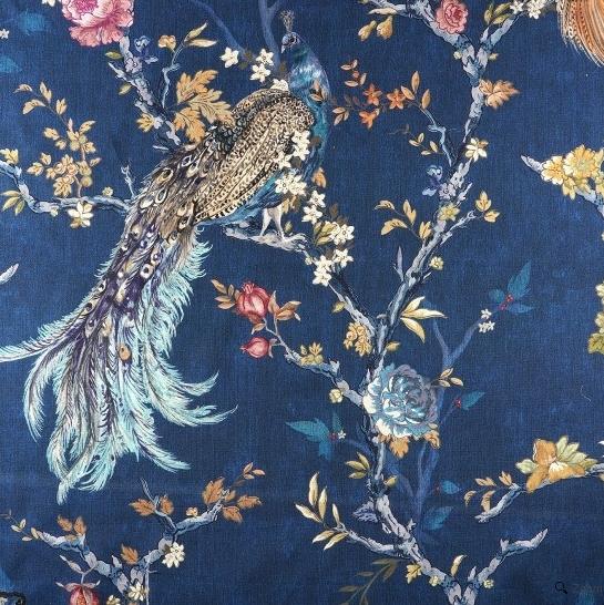 coton épais bleu motif paon