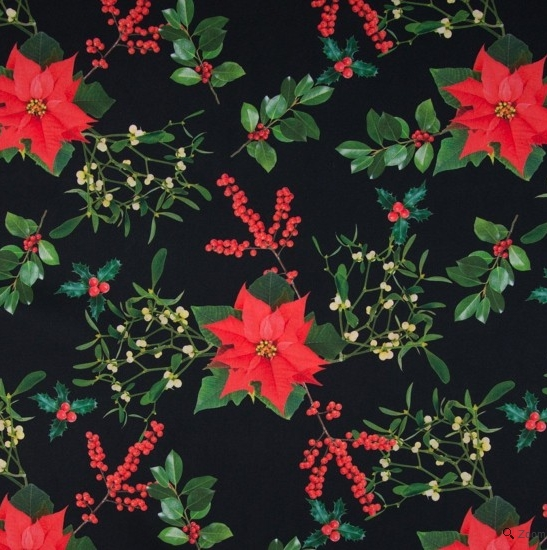 tissu coton motif houx gui poincetta