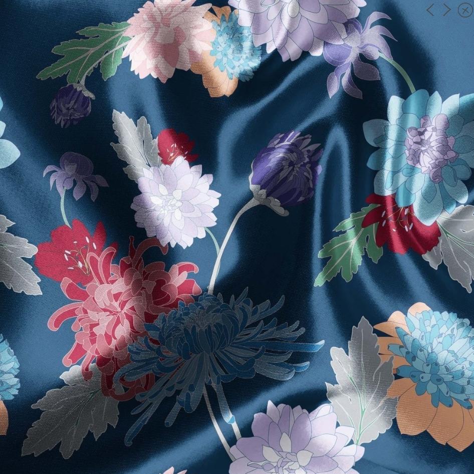 tissu satin marine à fleurs