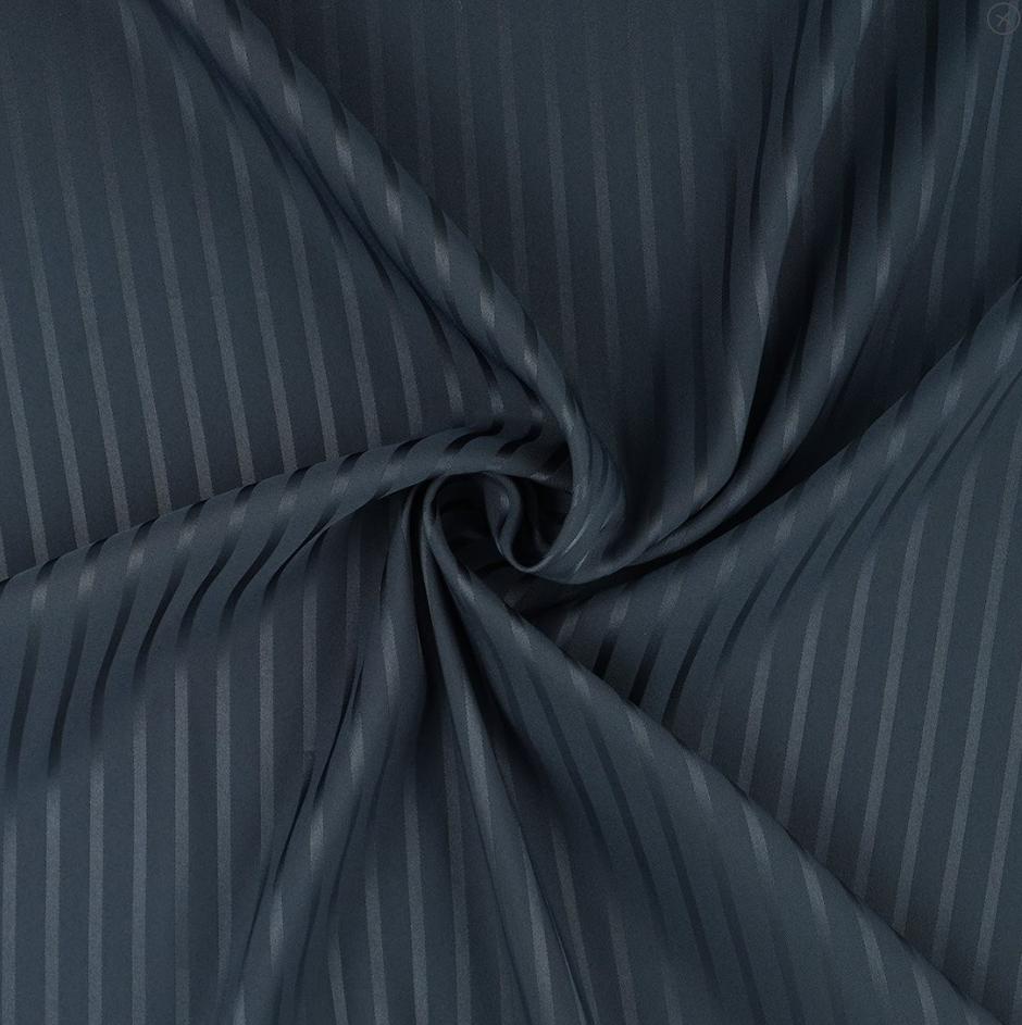 tissu satin rayé bleu