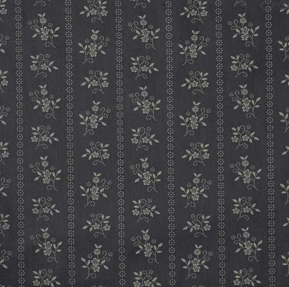 tissu satin gris moyen fleuri