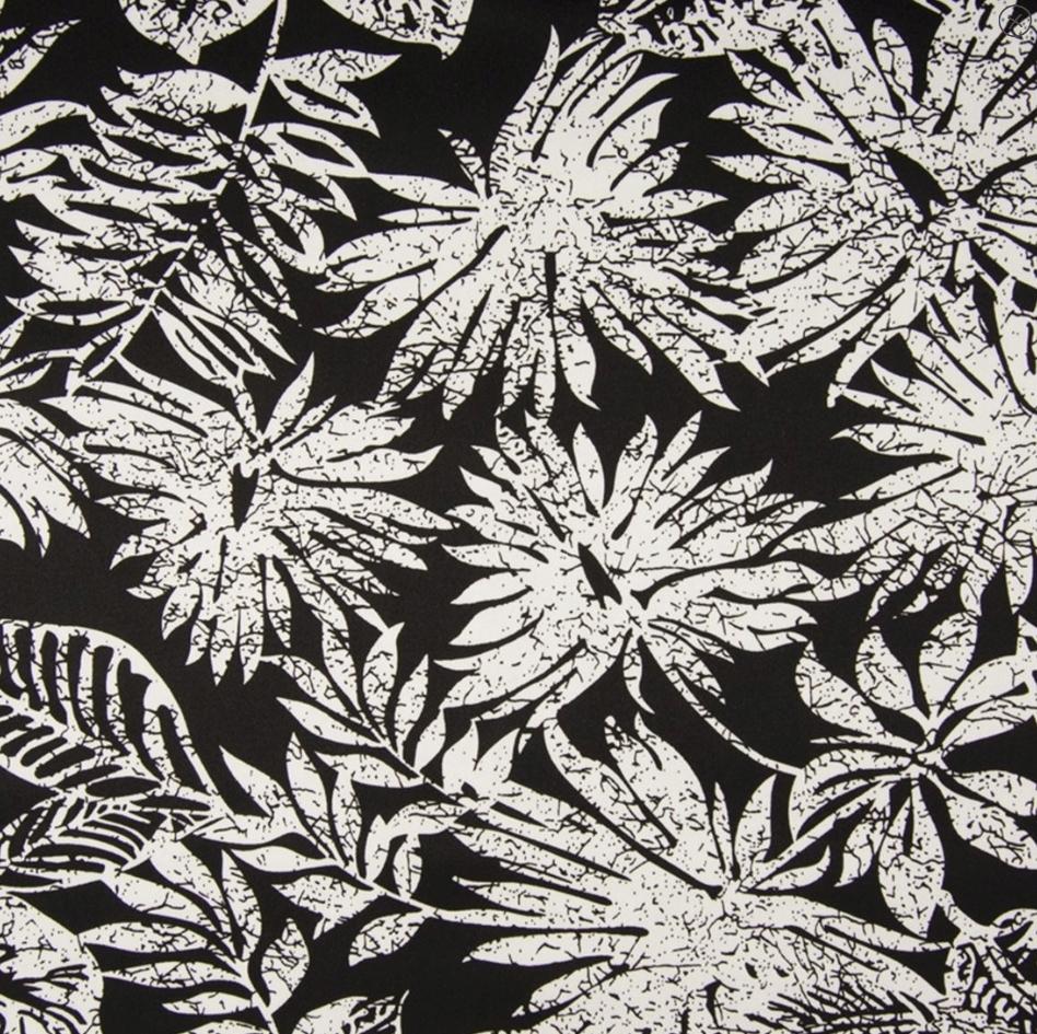 tissu satin noir à palmiers écru