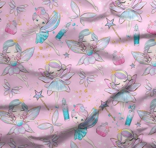 tissu rose avec dessins de fée - imperméable et résistant