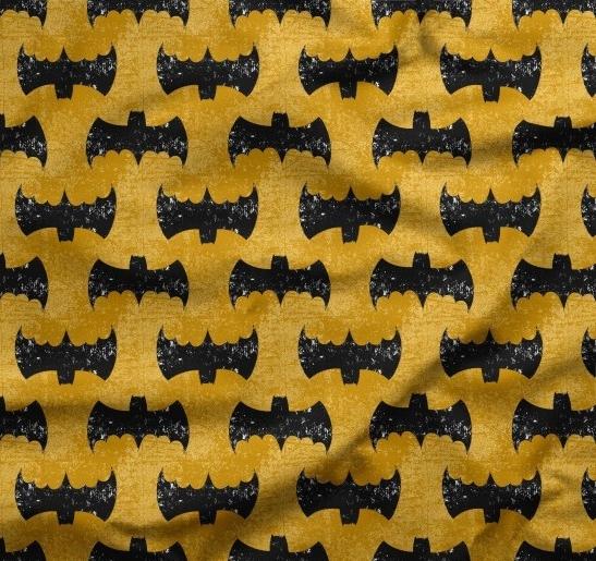 tissu chauve-souris batman fond ocre
