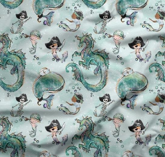 tissu fond vert avec dragons, pirates et sirènes