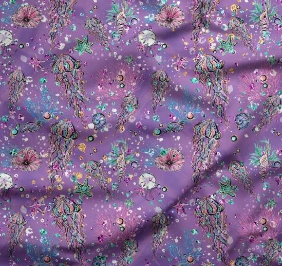 tissu fond violet avec méduses, coquillages et étoiles de mer